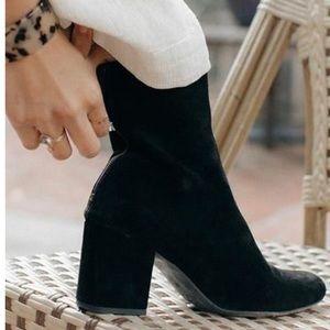 Free People Black Suede chunky heel Booties 8